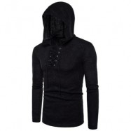 image of HOODED LACE UP LONG SLEEVE KNITTED SWEATER (BLACK) 2XL