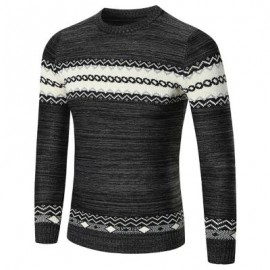 image of CREW NECK SPACE DYED GEOMETRIC SWEATER (BLACK) XL