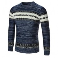 image of CREW NECK SPACE DYED GEOMETRIC SWEATER (BLUE) L