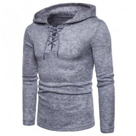 image of HOODED LACE UP LONG SLEEVE KNITTED SWEATER (LIGHT GRAY) M