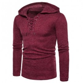 image of HOODED LACE UP LONG SLEEVE KNITTED SWEATER (WINE RED) 2XL