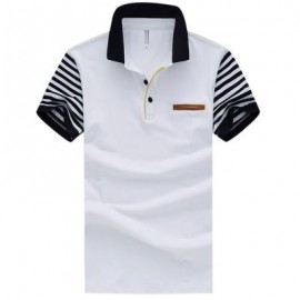 image of MALE PURE COTTON PATCHWORK DESIGN TURN DOWN COLLAR SHORT SLEEVE SHIRTS (WHITE) 2XL