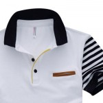 MALE PURE COTTON PATCHWORK DESIGN TURN DOWN COLLAR SHORT SLEEVE SHIRTS (WHITE) 2XL