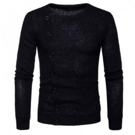 image of KNITTED OBLIQUE BUTTON UP CARDIGAN (BLACK) M