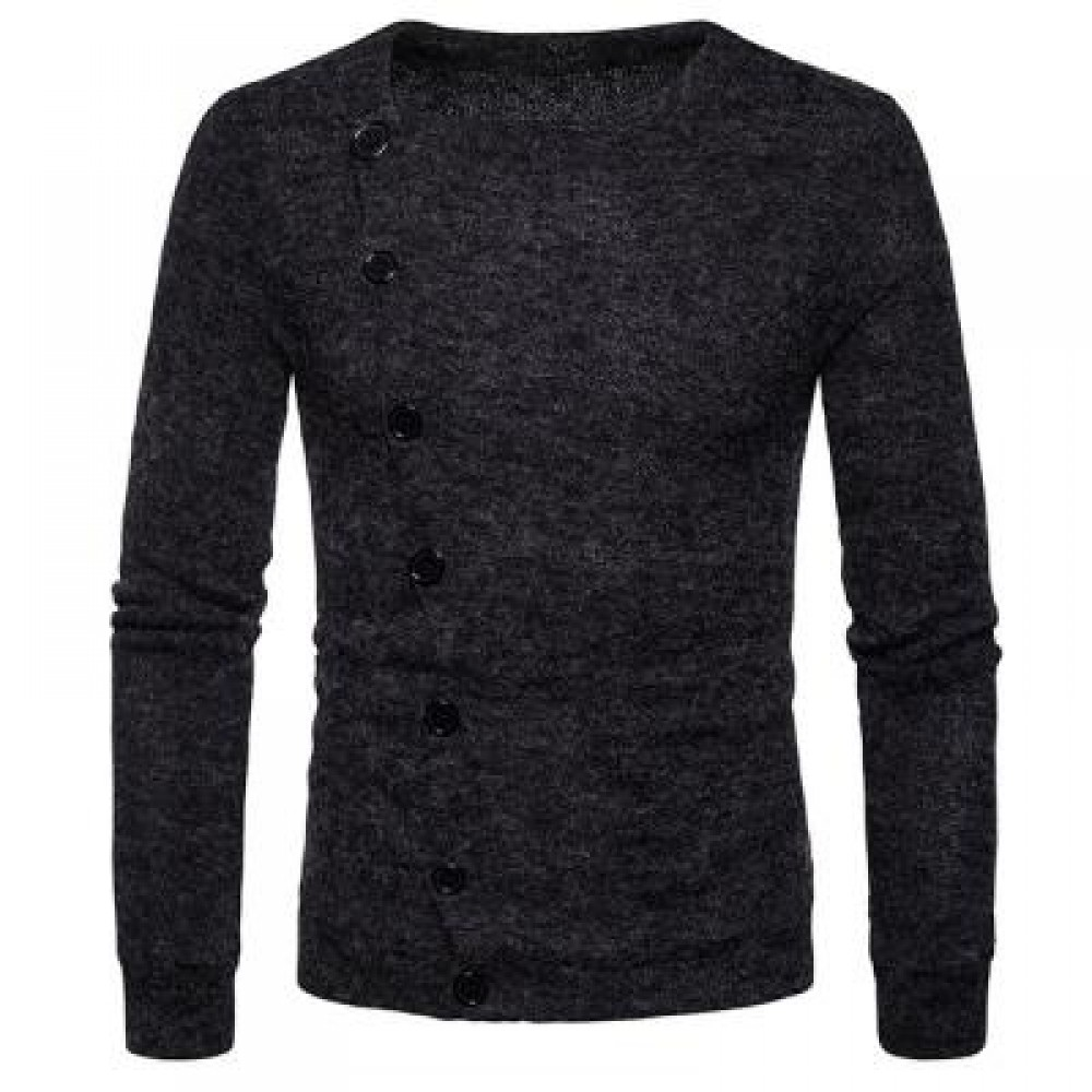 KNITTED OBLIQUE BUTTON UP CARDIGAN (DEEP GRAY) M