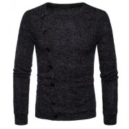 image of KNITTED OBLIQUE BUTTON UP CARDIGAN (DEEP GRAY) M