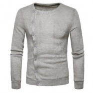 image of KNITTED OBLIQUE BUTTON UP CARDIGAN (LIGHT GRAY) M