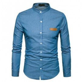 image of STAND COLLAR PU LEATHER EDGING CHAMBRAY SHIRT (DEEP BLUE) M