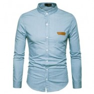 image of STAND COLLAR PU LEATHER EDGING CHAMBRAY SHIRT (LIGHT BLUE) L