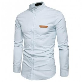 image of STAND COLLAR PU LEATHER EDGING CHAMBRAY SHIRT (WHITE) L