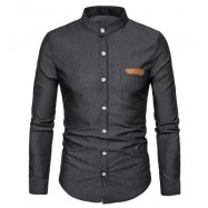 image of STAND COLLAR PU LEATHER EDGING CHAMBRAY SHIRT (BLACK) L