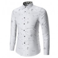 image of ARROW PRINTED BUTTON LONG SLEEVE SHIRT (WHITE) 4XL