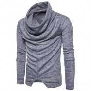 image of PILES COLLAR LONG SLEEVE ASYMMETRIC SWEATER (LIGHT GRAY) L