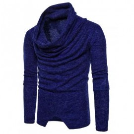 image of PILES COLLAR LONG SLEEVE ASYMMETRIC SWEATER (ROYAL) L