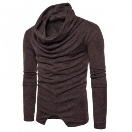 image of PILES COLLAR LONG SLEEVE ASYMMETRIC SWEATER (COFFEE) XL