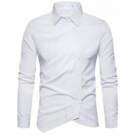 image of TURNDOWN COLLAR OBLIQUE BUTTON UP SHIRT (WHITE) M