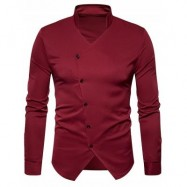 image of STAND COLLAR OBLIQUE BUTTON UP SHIRT (WINE RED) S