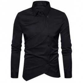 image of TURNDOWN COLLAR OBLIQUE BUTTON UP SHIRT (BLACK) 2XL