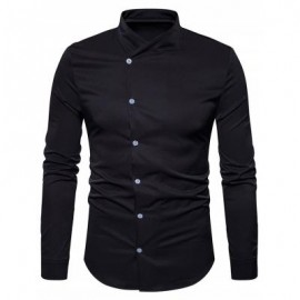 image of OBLIQUE BUTTON UP STAND COLLAR SHIRT (BLACK) M