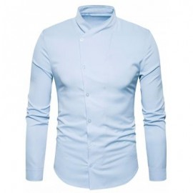 image of OBLIQUE BUTTON UP STAND COLLAR SHIRT (LIGHT BLUE) M