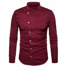 image of OBLIQUE BUTTON UP STAND COLLAR SHIRT (WINE RED) S