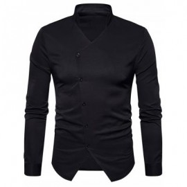 image of STAND COLLAR OBLIQUE BUTTON UP SHIRT (BLACK) XL