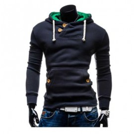 image of POCKET DESIGN SLIM FIT LONG SLEEVE CASUAL HOODIES FOR MEN (BLUE, SIZE M/L/XL/2XL) M