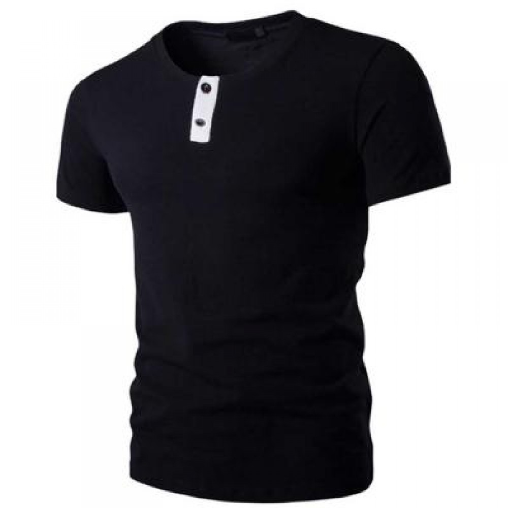 STYLISH PURE COLOR BUTTON DECORATION ROUND NECK MALE SHORT SLEEVE SHIRT (BLACK M/L/XL/XXL) L