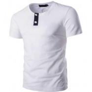 image of STYLISH PURE COLOR BUTTON DECORATION ROUND NECK MALE SHORT SLEEVE SHIRT (WHITE M/L/XL/XXL) XXL