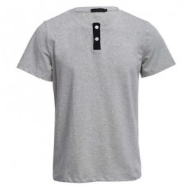 image of STYLISH PURE COLOR BUTTON DECORATION ROUND NECK MALE SHORT SLEEVE SHIRT (GRAY M/L/XL/XXL) M