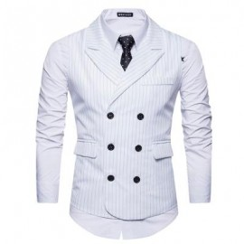image of TURNDOWN COLLAR DOUBLE BREASTED BELT VERTICAL STRIPE WAISTCOAT (WHITE) S
