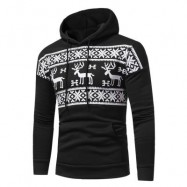 image of HOODED SNOW AND REINDEER PRINT FLEECE HOODIE (BLACK) L