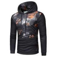 image of KANGAROO POCKET ROSE PRINT PULLOVER HOODIE (ORANGE) S