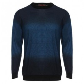 image of CASUAL GRADIENT ROUND NECK MALE LONG SLEEVE SHIRT (BLUE) L