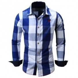 image of TURN-DOWN COLLAR PLAID PATTERN LONG SLEEVE SHIRT FOR MEN (BLUE) L