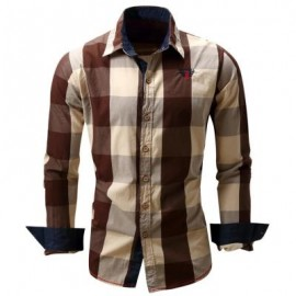 image of TURN-DOWN COLLAR PLAID PATTERN LONG SLEEVE SHIRT FOR MEN (COFFEE) XL