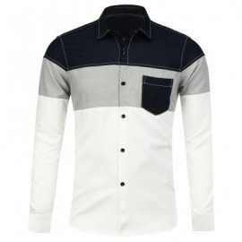 image of COLOR BLOCK LONG SLEEVE POCKET SHIRT (WHITE) 2XL