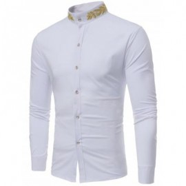 image of PLANT EMBROIDERED MANDARIN COLLAR SHIRT (WHITE) S