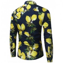 image of LEMON PRINT LONG SLEEVE SHIRT (PURPLISH BLUE) XL