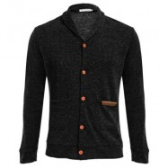 image of CASUAL POCKET DESIGN MALE LONG SLEEVE KNITWEAR (BLACK M/L/XL/XXL) M
