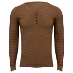 SIMPLE DESIGN LONG SLEEVE ROUND NECK MALE PULLOVER SWEATER (BROWN M/L/XL/XXL) XL