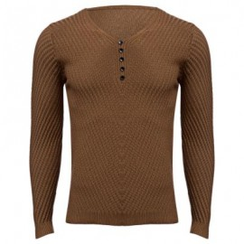 image of SIMPLE DESIGN LONG SLEEVE ROUND NECK MALE PULLOVER SWEATER (BROWN M/L/XL/XXL) XL