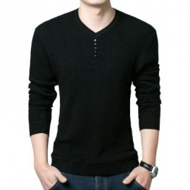 image of SIMPLE DESIGN LONG SLEEVE ROUND NECK MALE PULLOVER SWEATER (BLACK M/L/XL/XXL) L