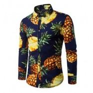 image of TURNDOWN COLLAR 3D PINEAPPLE PRINT SHIRT (PURPLISH BLUE) L