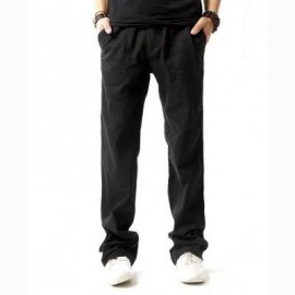 image of LINEN BREATHABLE STRAIGHT ELASTIC BAND MALE CAUSAL PANTS (BLACK) 2XL