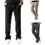 LINEN BREATHABLE STRAIGHT ELASTIC BAND MALE CAUSAL PANTS (GRAY) 3XL