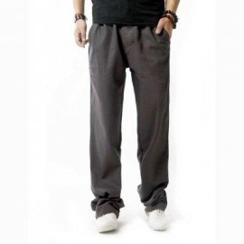 image of LINEN BREATHABLE STRAIGHT ELASTIC BAND MALE CAUSAL PANTS (GRAY) 3XL