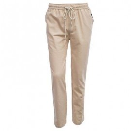 image of LINEN BREATHABLE STRAIGHT ELASTIC BAND MALE CAUSAL PANTS (KHAKI) 2XL