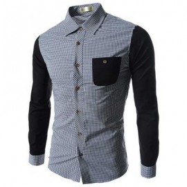 image of CASUAL GRID DESIGN COLOR BLOCK MALE LONG SLEEVE SHIRT (BLACK) M