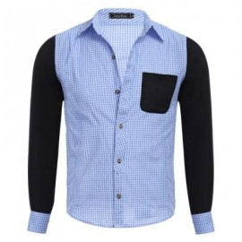 image of CASUAL GRID DESIGN COLOR BLOCK MALE LONG SLEEVE SHIRT (BLUE) 2XL
